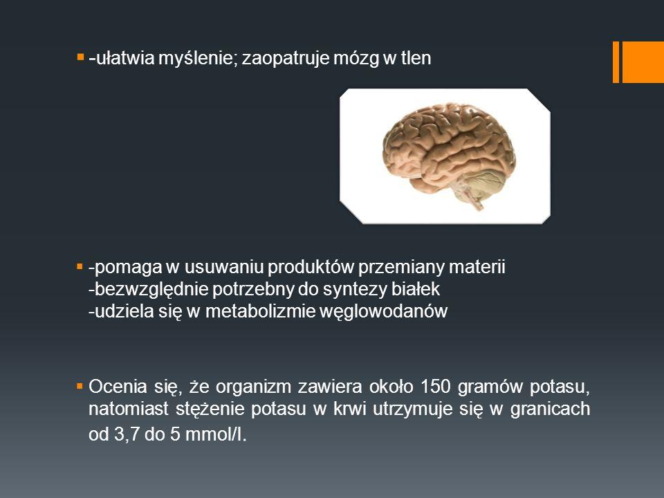 -ułatwia myślenie; zaopatruje mózg w tlen