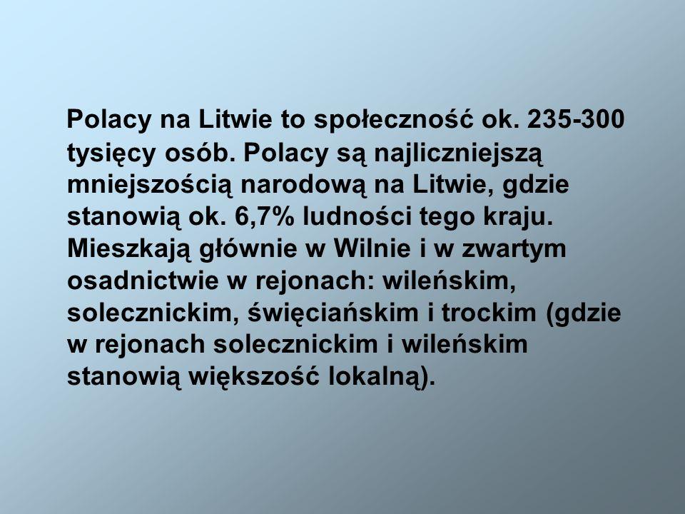 Polacy na Litwie to społeczność ok. 235-300 tysięcy osób