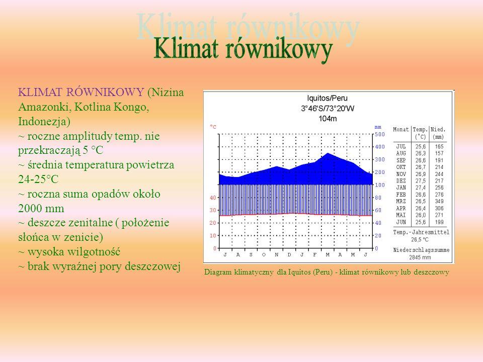 Klimat równikowy KLIMAT RÓWNIKOWY (Nizina Amazonki, Kotlina Kongo, Indonezja) ~ roczne amplitudy temp. nie przekraczają 5 °C.
