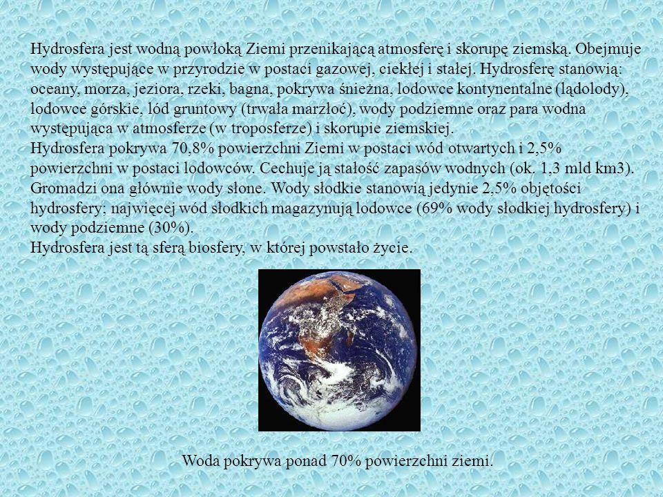 Hydrosfera jest wodną powłoką Ziemi przenikającą atmosferę i skorupę ziemską. Obejmuje wody występujące w przyrodzie w postaci gazowej, ciekłej i stałej. Hydrosferę stanowią: oceany, morza, jeziora, rzeki, bagna, pokrywa śnieżna, lodowce kontynentalne (lądolody), lodowce górskie, lód gruntowy (trwała marzłoć), wody podziemne oraz para wodna występująca w atmosferze (w troposferze) i skorupie ziemskiej.