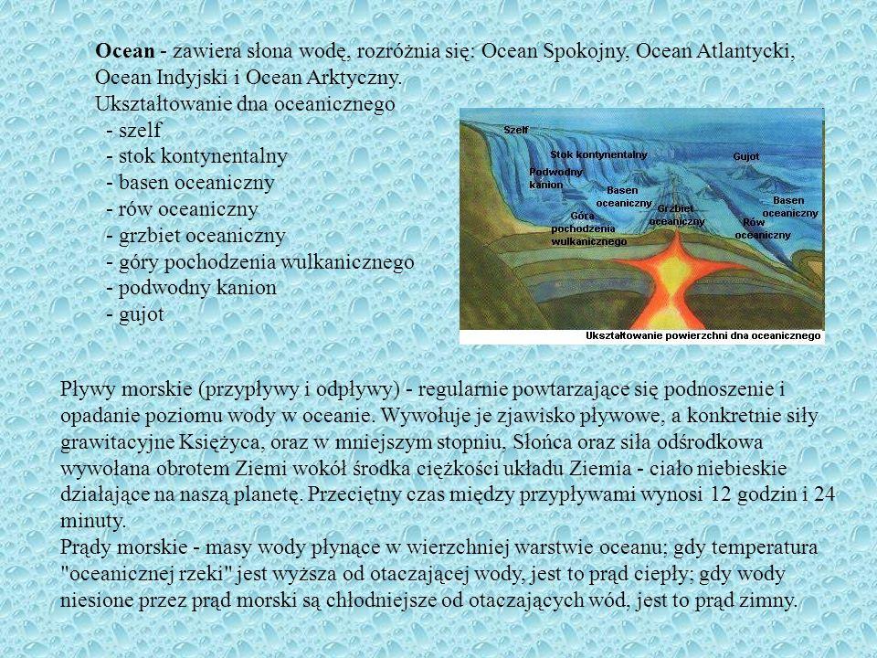 Ocean - zawiera słona wodę, rozróżnia się: Ocean Spokojny, Ocean Atlantycki, Ocean Indyjski i Ocean Arktyczny.