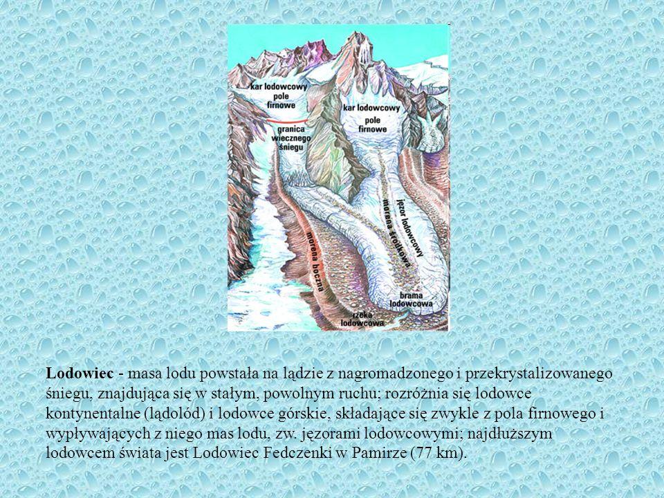 Lodowiec - masa lodu powstała na lądzie z nagromadzonego i przekrystalizowanego śniegu, znajdująca się w stałym, powolnym ruchu; rozróżnia się lodowce kontynentalne (lądolód) i lodowce górskie, składające się zwykle z pola firnowego i wypływających z niego mas lodu, zw.