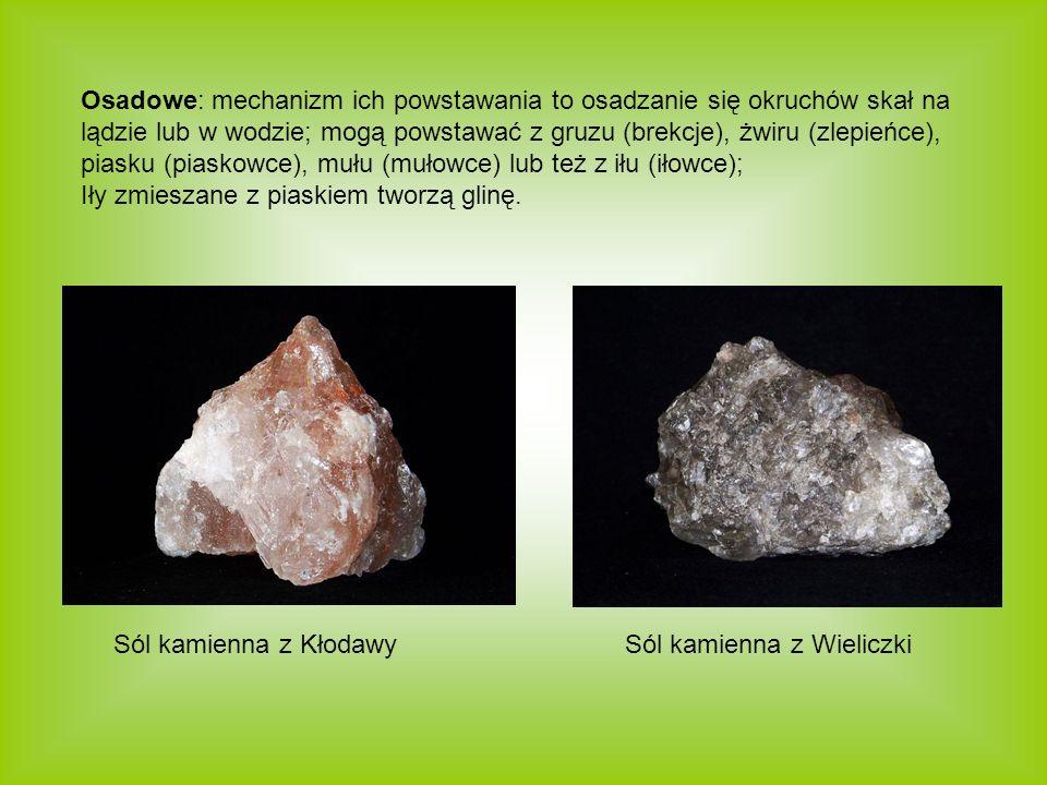 Osadowe: mechanizm ich powstawania to osadzanie się okruchów skał na lądzie lub w wodzie; mogą powstawać z gruzu (brekcje), żwiru (zlepieńce), piasku (piaskowce), mułu (mułowce) lub też z iłu (iłowce);