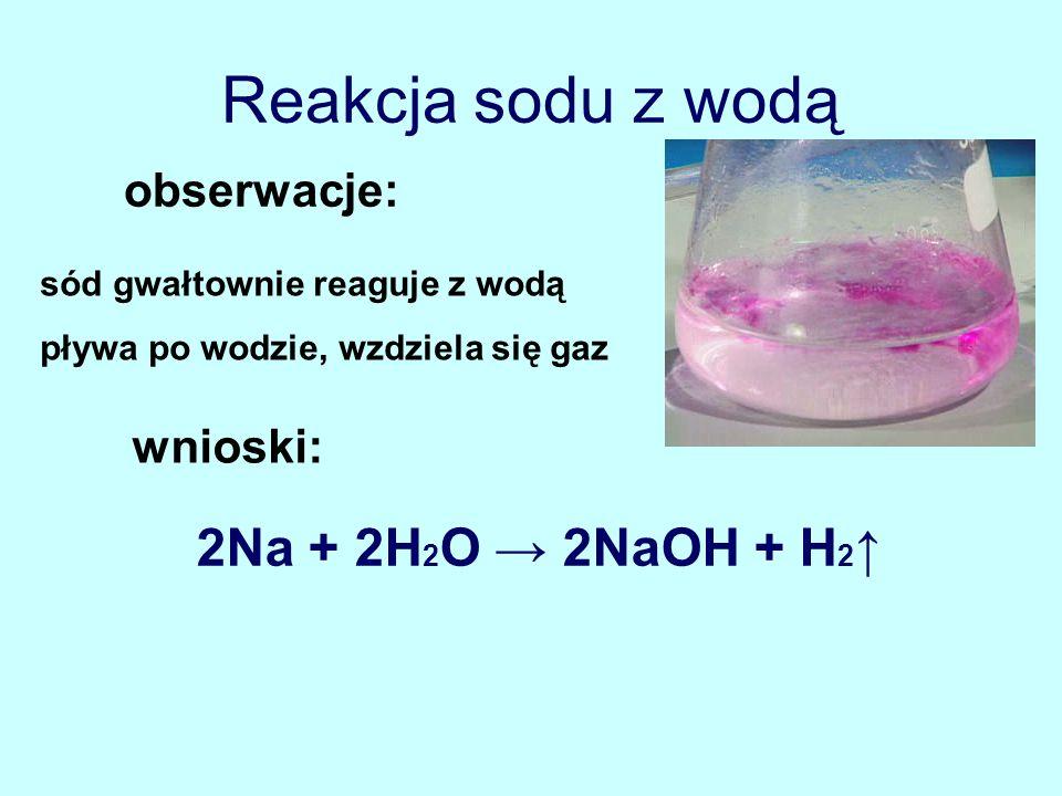 Reakcja sodu z wodą 2Na + 2H2O → 2NaOH + H2↑ obserwacje: wnioski: