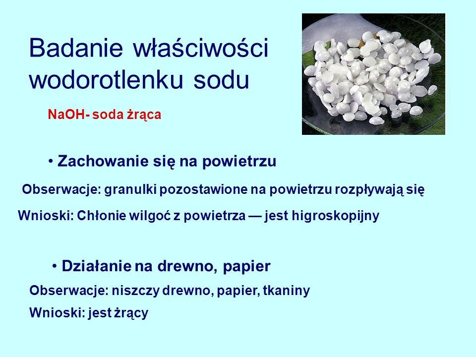 Badanie właściwości wodorotlenku sodu