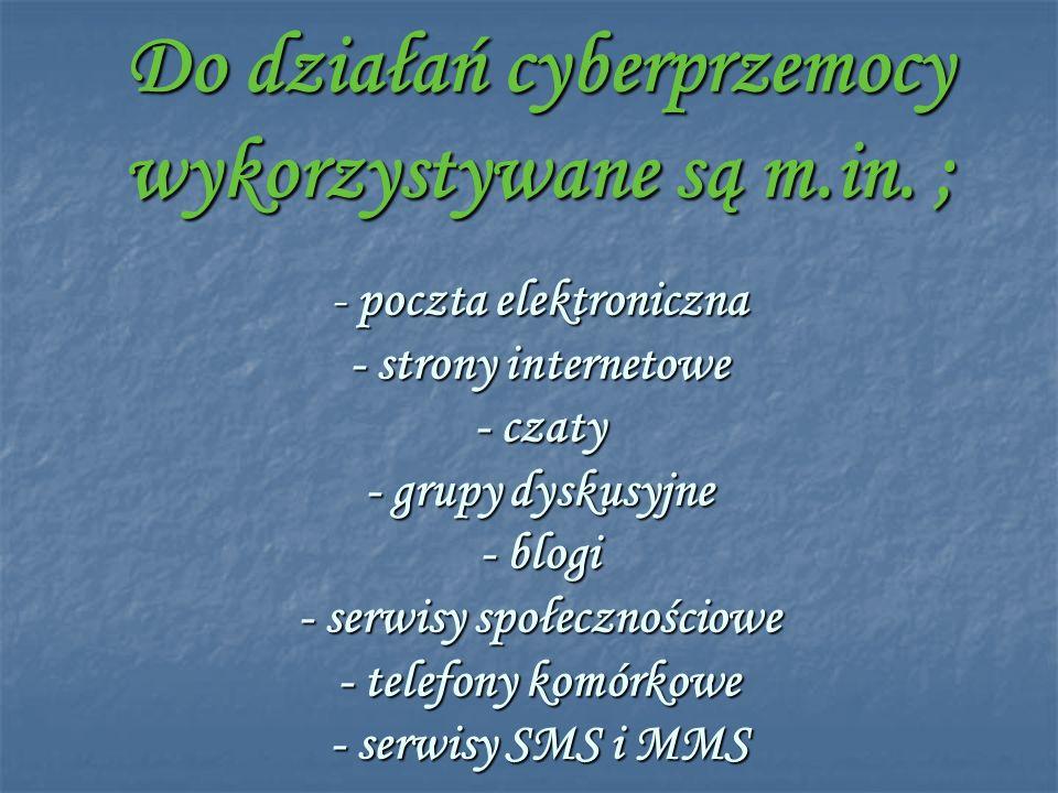 Do działań cyberprzemocy wykorzystywane są m. in