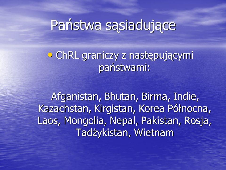 ChRL graniczy z następującymi państwami: