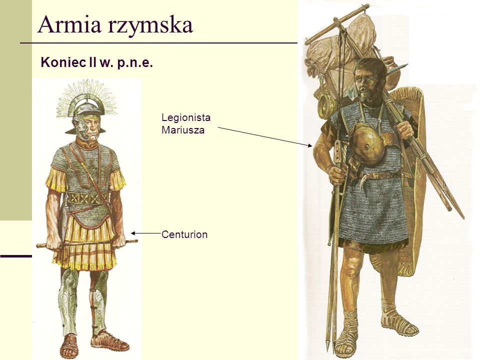 Armia rzymska Koniec II w. p.n.e. Legionista Mariusza Centurion