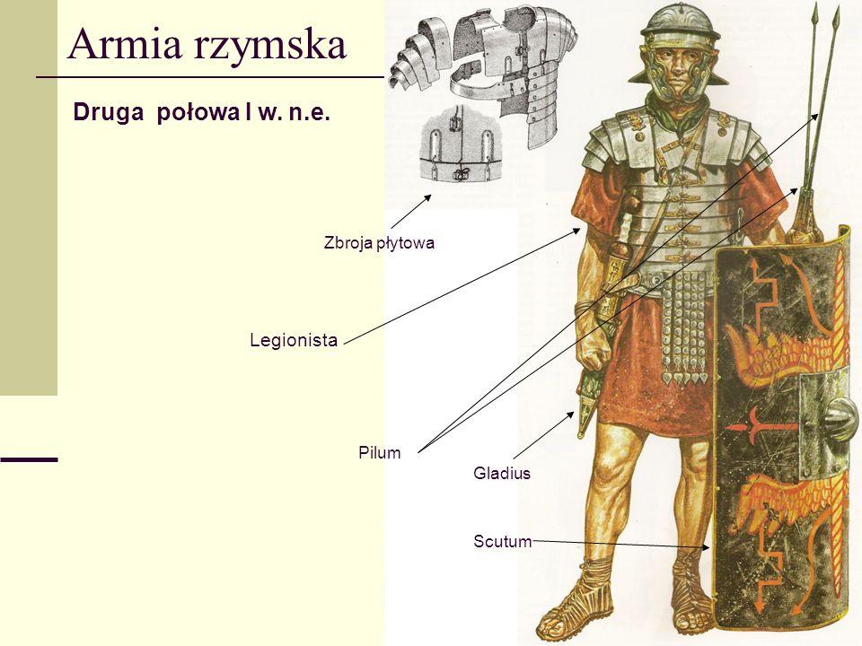 Armia rzymska Druga połowa I w. n.e. Legionista Zbroja płytowa Pilum