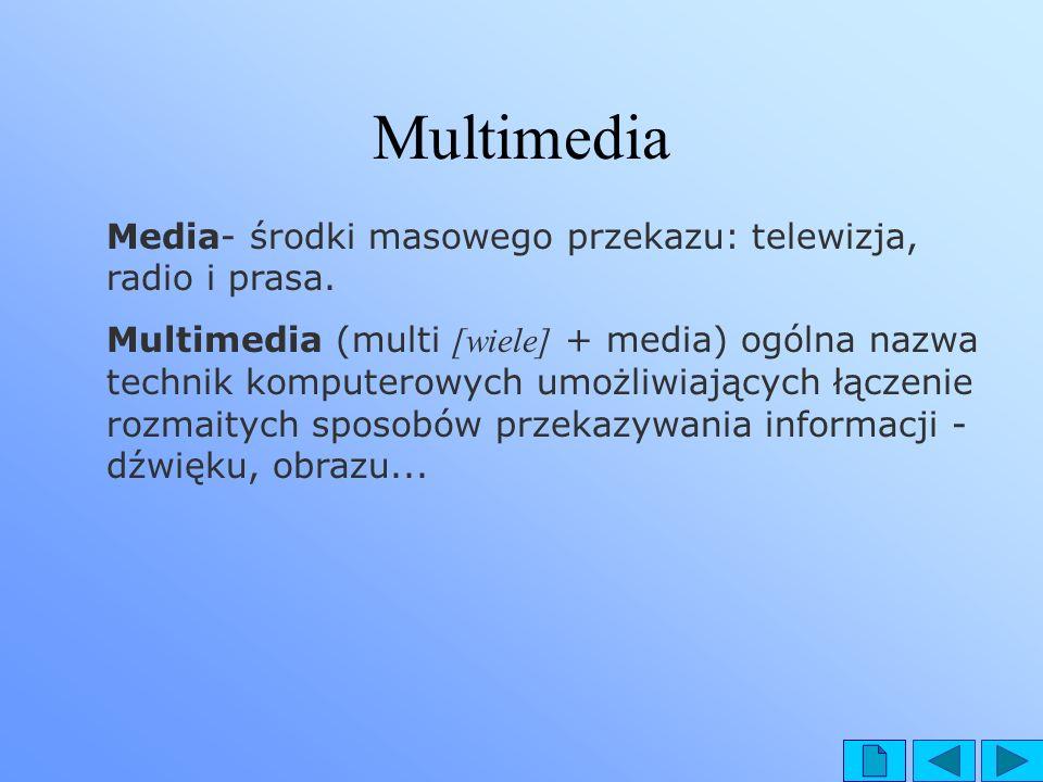 Multimedia Media- środki masowego przekazu: telewizja, radio i prasa.