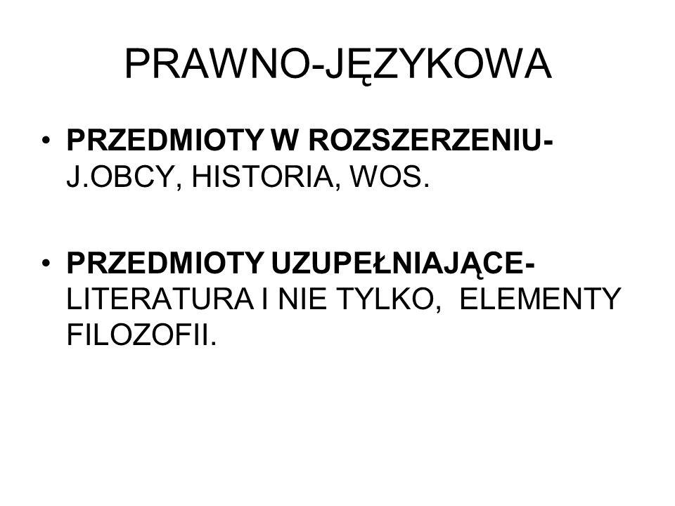 PRAWNO-JĘZYKOWA PRZEDMIOTY W ROZSZERZENIU- J.OBCY, HISTORIA, WOS.