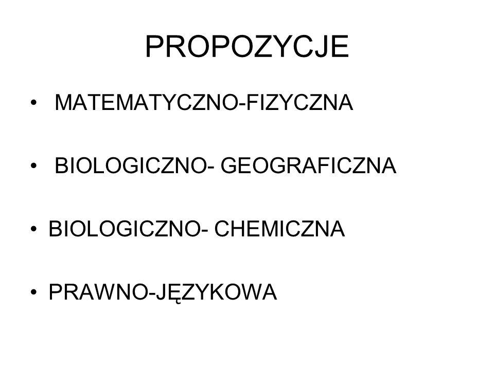 PROPOZYCJE MATEMATYCZNO-FIZYCZNA BIOLOGICZNO- GEOGRAFICZNA