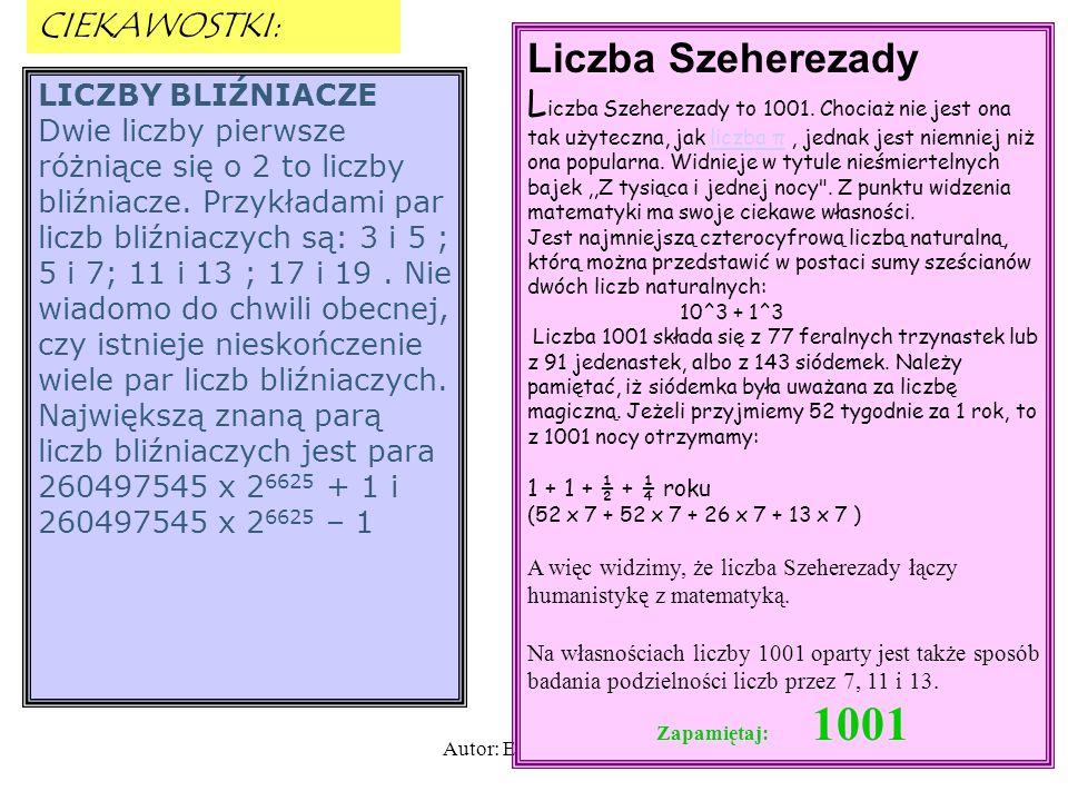 Liczba Szeherezady CIEKAWOSTKI: