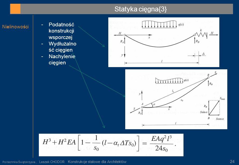 Statyka cięgna{3} Podatność konstrukcji wsporczej Wydłużalność cięgien