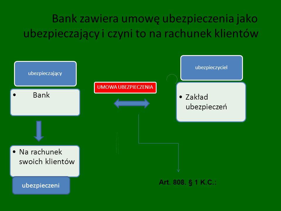 Bank zawiera umowę ubezpieczenia jako ubezpieczający i czyni to na rachunek klientów