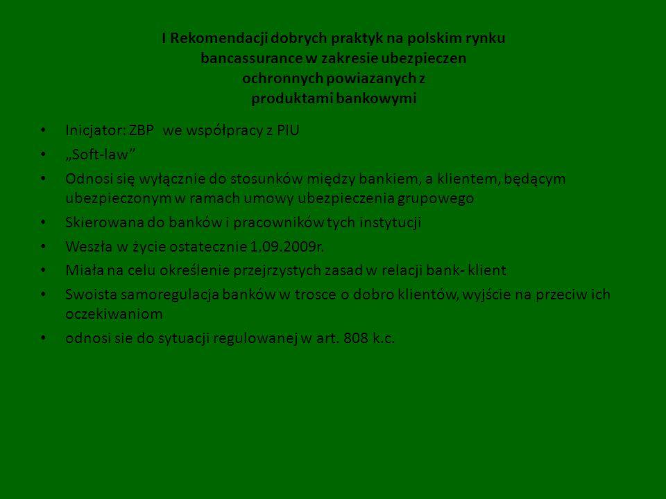 I Rekomendacji dobrych praktyk na polskim rynku bancassurance w zakresie ubezpieczen ochronnych powiazanych z produktami bankowymi