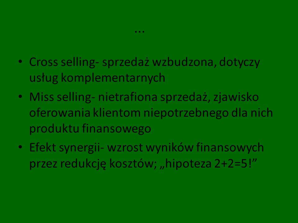 ... Cross selling- sprzedaż wzbudzona, dotyczy usług komplementarnych