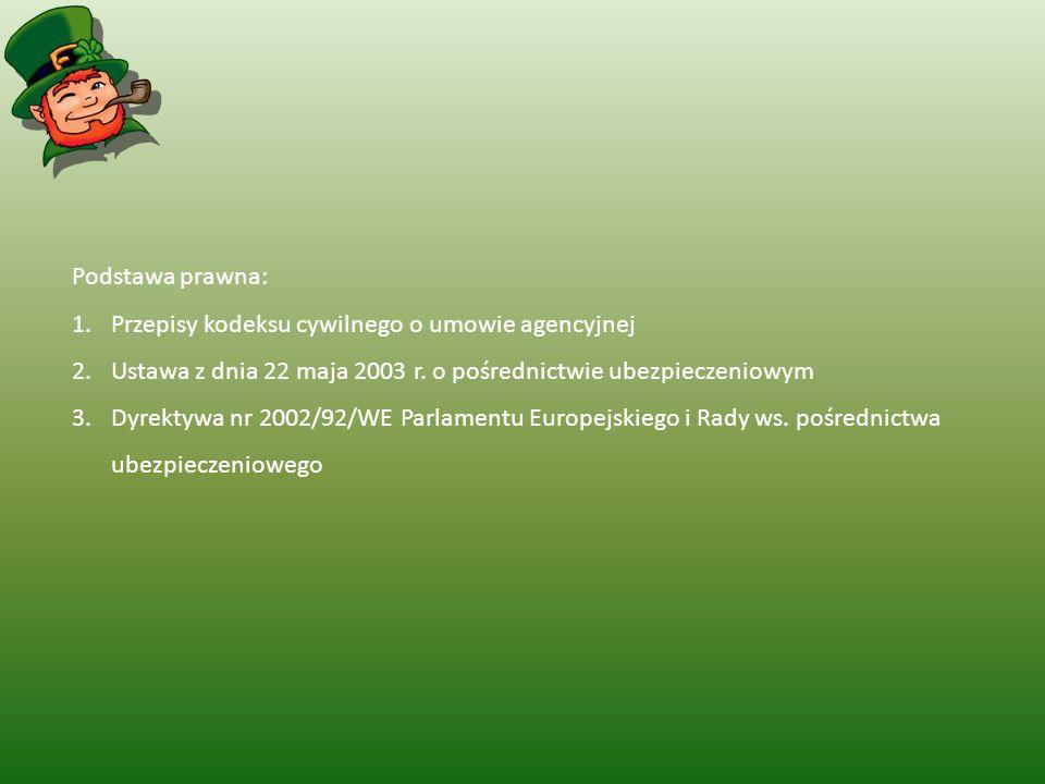 Podstawa prawna: Przepisy kodeksu cywilnego o umowie agencyjnej. Ustawa z dnia 22 maja 2003 r. o pośrednictwie ubezpieczeniowym.