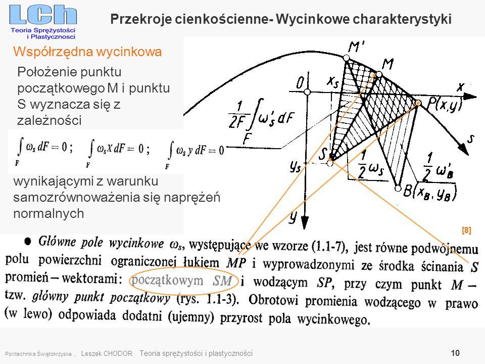 Przekroje cienkościenne- Wycinkowe charakterystyki