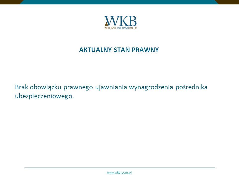AKTUALNY STAN PRAWNYBrak obowiązku prawnego ujawniania wynagrodzenia pośrednika ubezpieczeniowego.