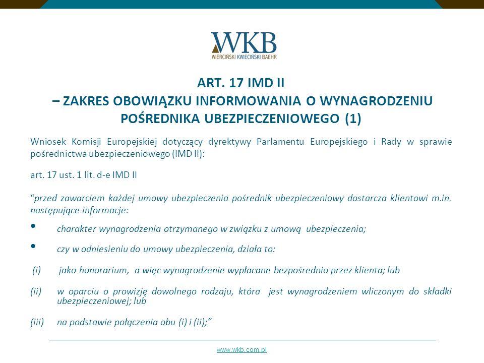 ART. 17 IMD II – ZAKRES OBOWIĄZKU INFORMOWANIA O WYNAGRODZENIU POŚREDNIKA UBEZPIECZENIOWEGO (1)