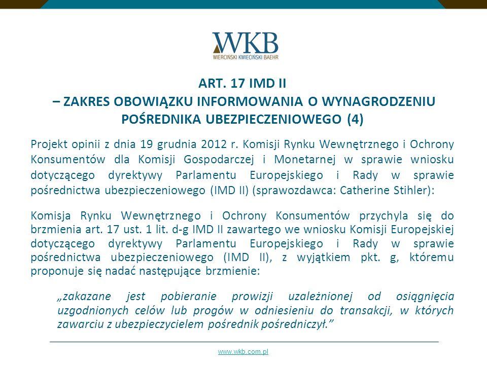 ART. 17 IMD II – ZAKRES OBOWIĄZKU INFORMOWANIA O WYNAGRODZENIU POŚREDNIKA UBEZPIECZENIOWEGO (4)