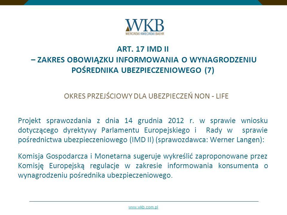 ART. 17 IMD II – ZAKRES OBOWIĄZKU INFORMOWANIA O WYNAGRODZENIU POŚREDNIKA UBEZPIECZENIOWEGO (7)
