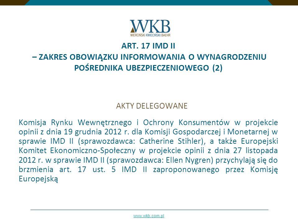 ART. 17 IMD II – ZAKRES OBOWIĄZKU INFORMOWANIA O WYNAGRODZENIU POŚREDNIKA UBEZPIECZENIOWEGO (2)