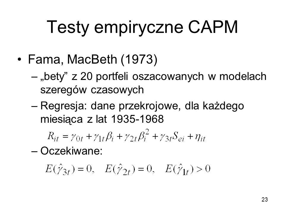 Testy empiryczne CAPM Fama, MacBeth (1973)