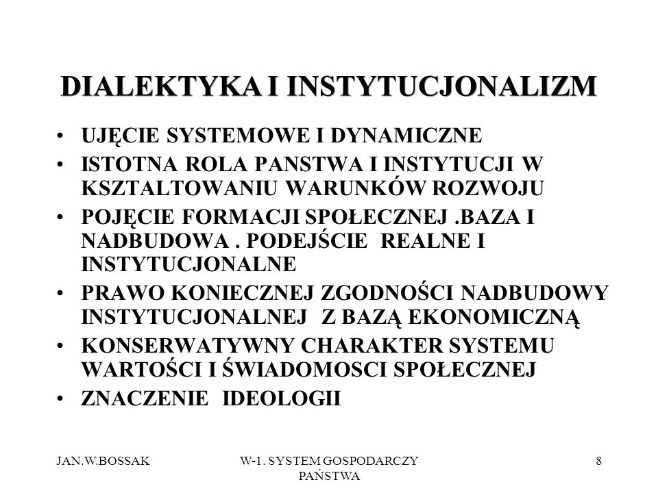 DIALEKTYKA I INSTYTUCJONALIZM