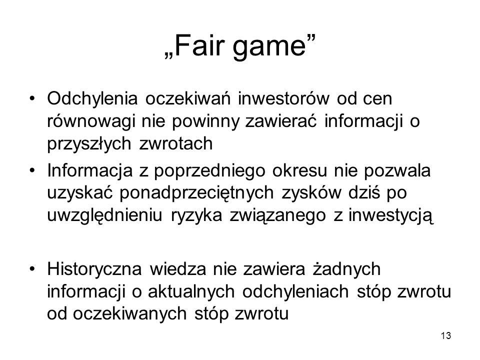 """""""Fair game Odchylenia oczekiwań inwestorów od cen równowagi nie powinny zawierać informacji o przyszłych zwrotach."""