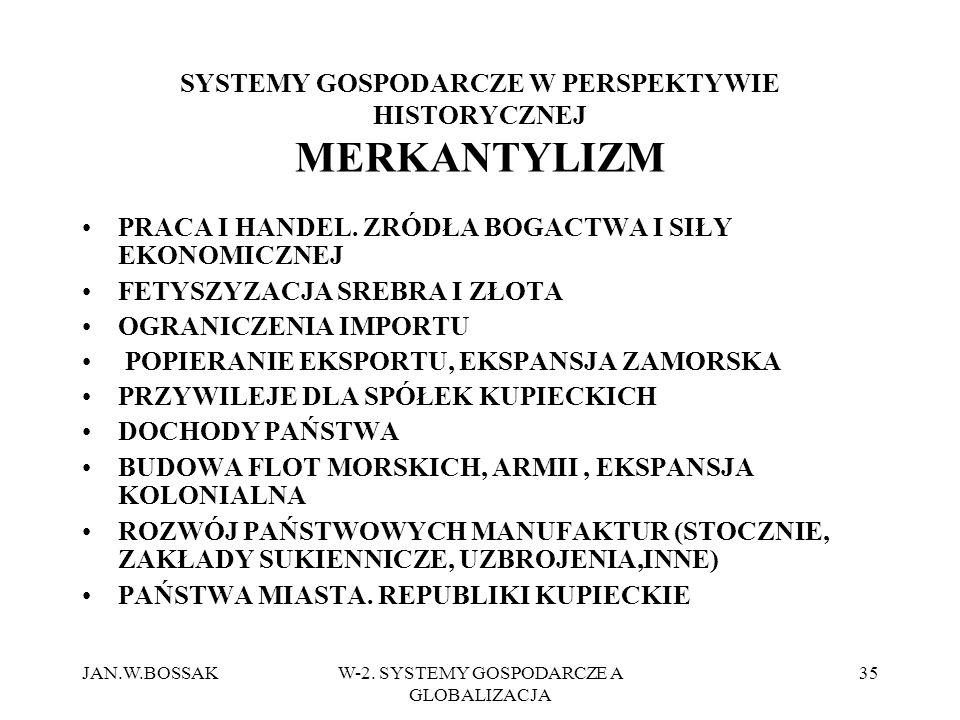 SYSTEMY GOSPODARCZE W PERSPEKTYWIE HISTORYCZNEJ MERKANTYLIZM