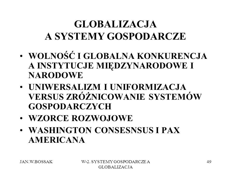 GLOBALIZACJA A SYSTEMY GOSPODARCZE
