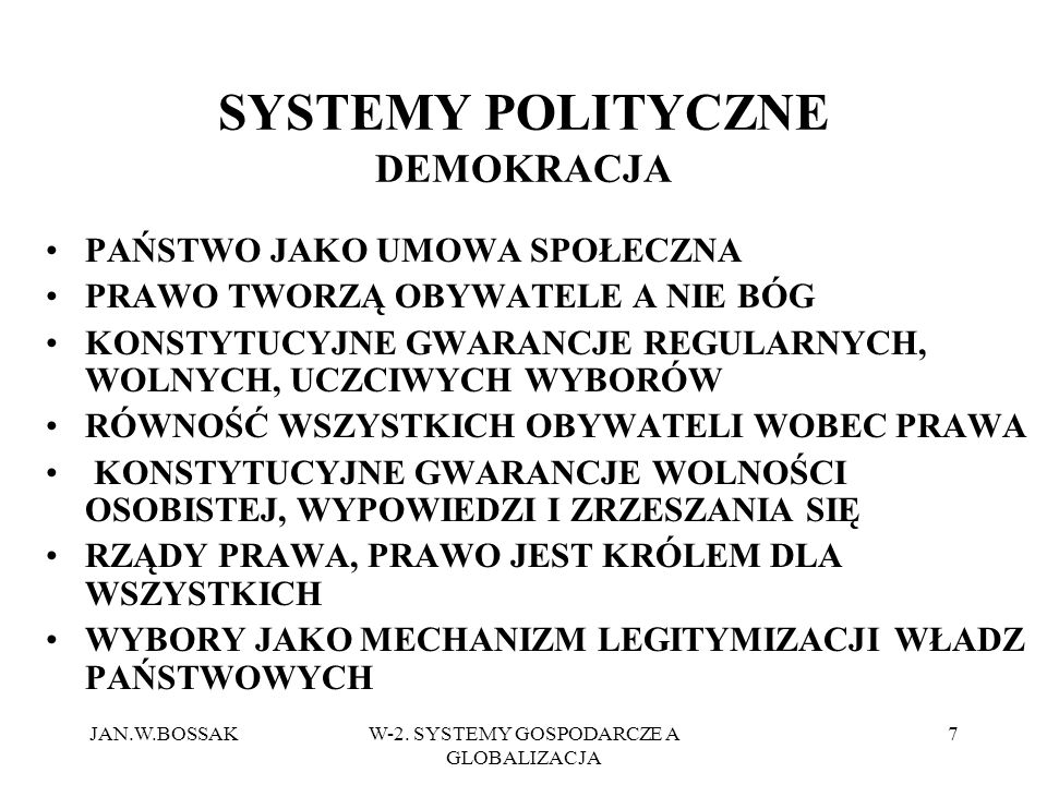 SYSTEMY POLITYCZNE DEMOKRACJA