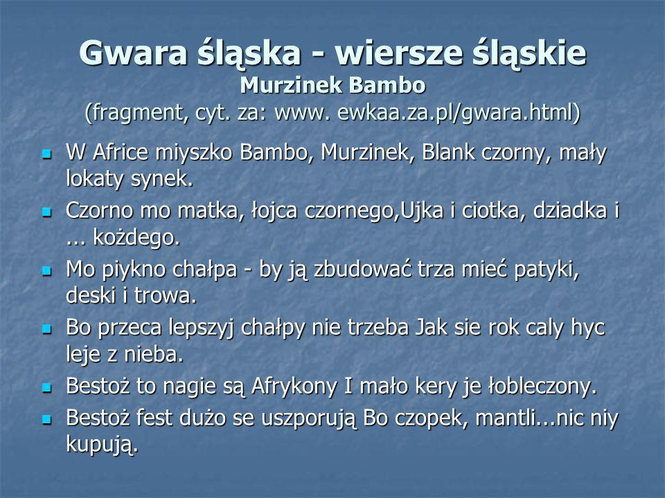 Gwara śląska - wiersze śląskie Murzinek Bambo (fragment, cyt. za: www