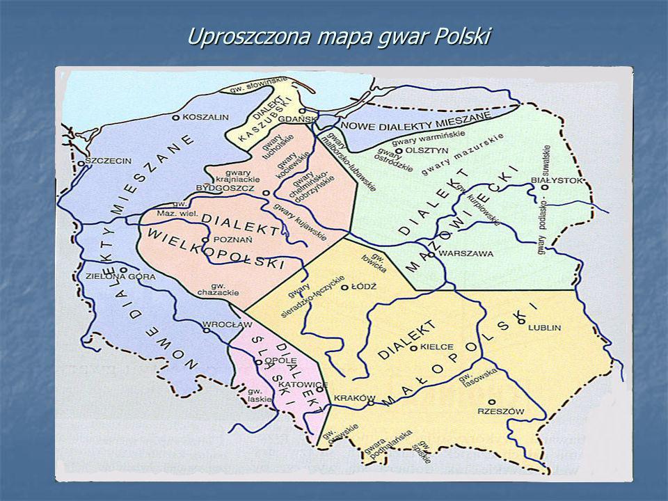 Uproszczona mapa gwar Polski