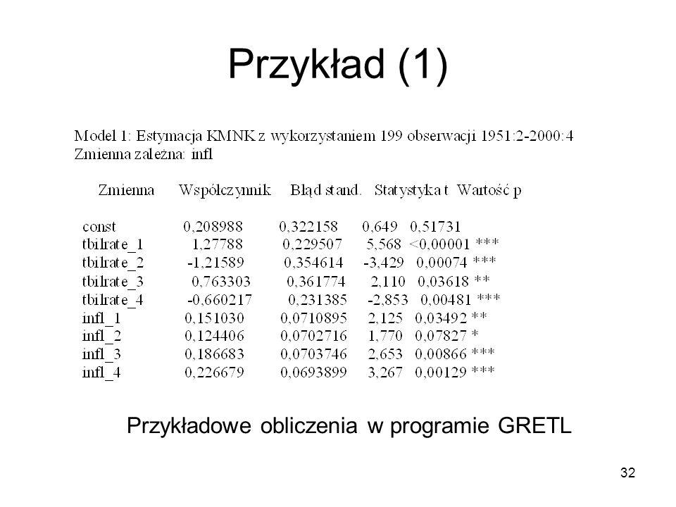 Przykład (1) Przykładowe obliczenia w programie GRETL