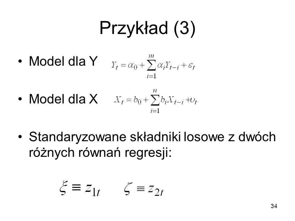 Przykład (3) Model dla Y Model dla X
