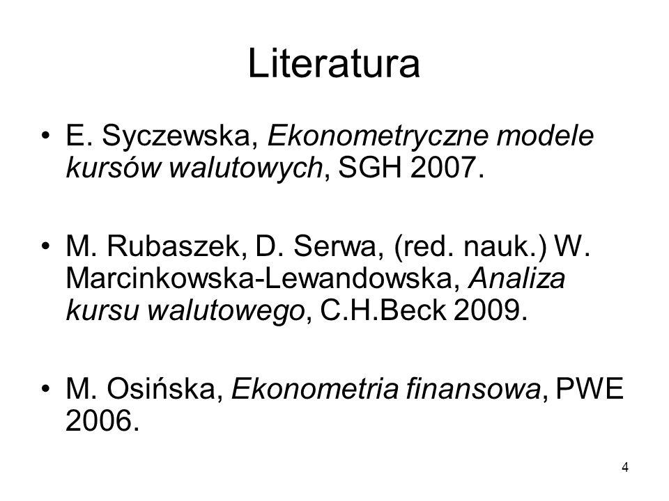 Literatura E. Syczewska, Ekonometryczne modele kursów walutowych, SGH 2007.