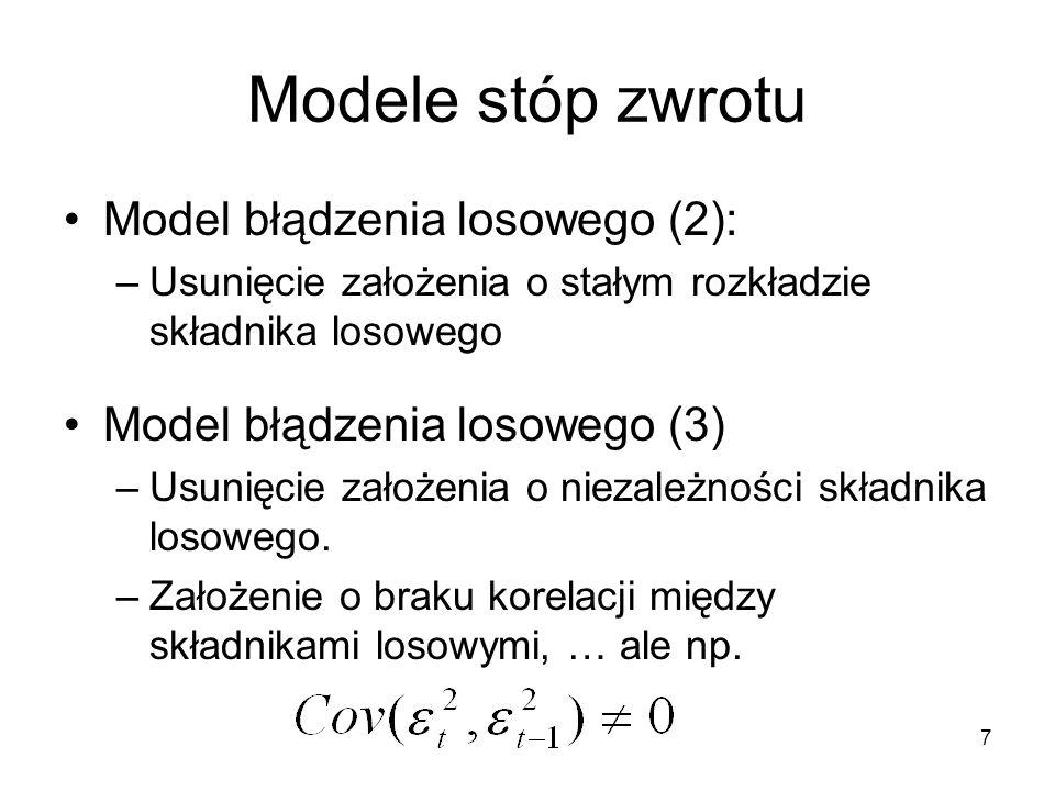 Modele stóp zwrotu Model błądzenia losowego (2):
