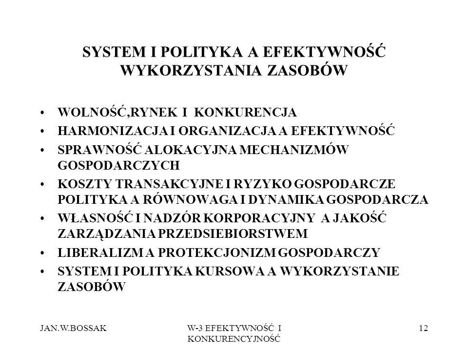SYSTEM I POLITYKA A EFEKTYWNOŚĆ WYKORZYSTANIA ZASOBÓW