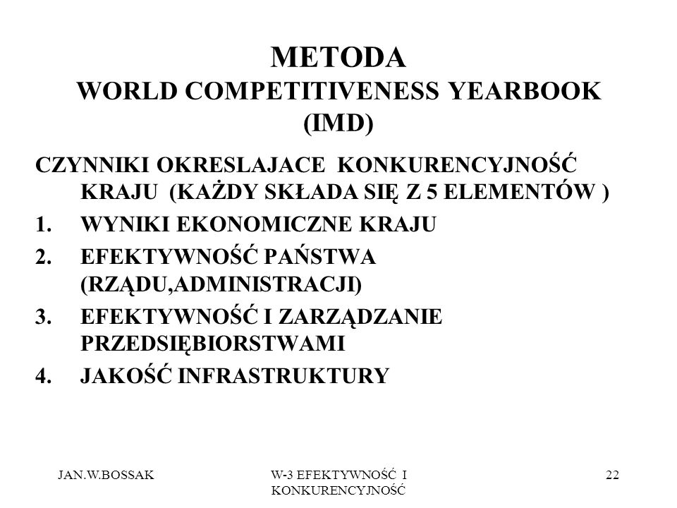 METODA WORLD COMPETITIVENESS YEARBOOK (IMD)