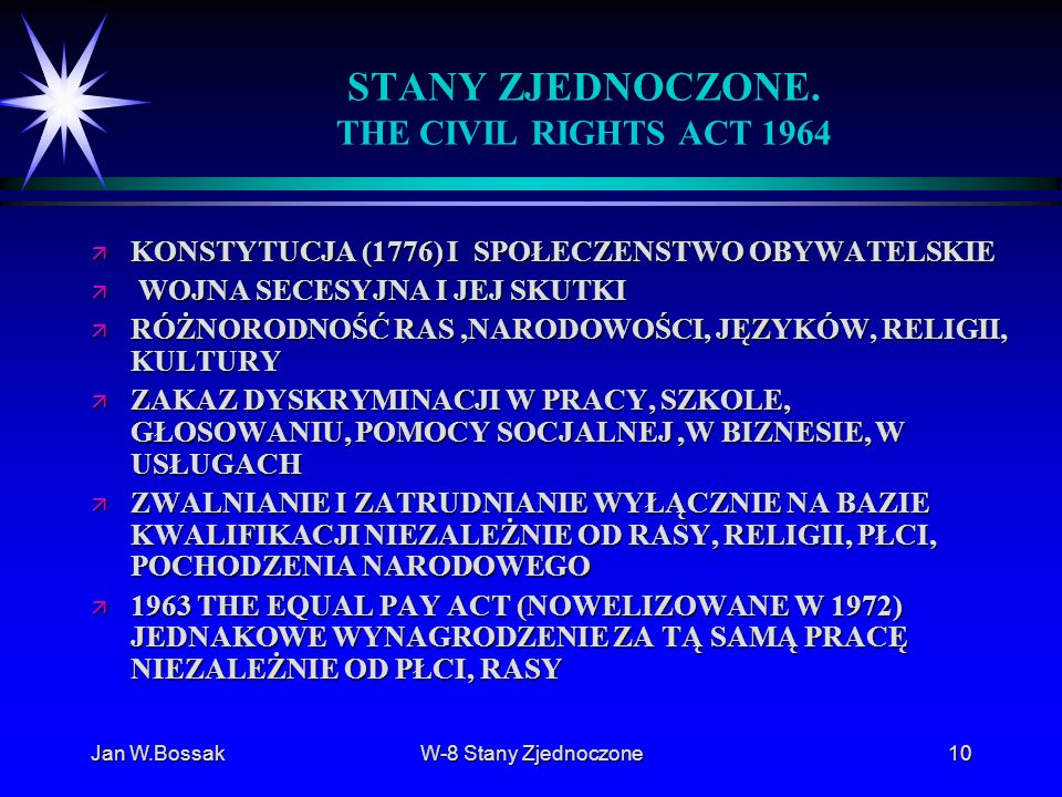 STANY ZJEDNOCZONE. THE CIVIL RIGHTS ACT 1964