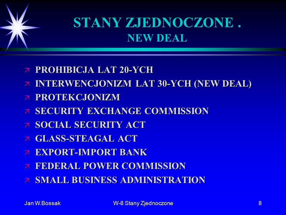 STANY ZJEDNOCZONE . NEW DEAL
