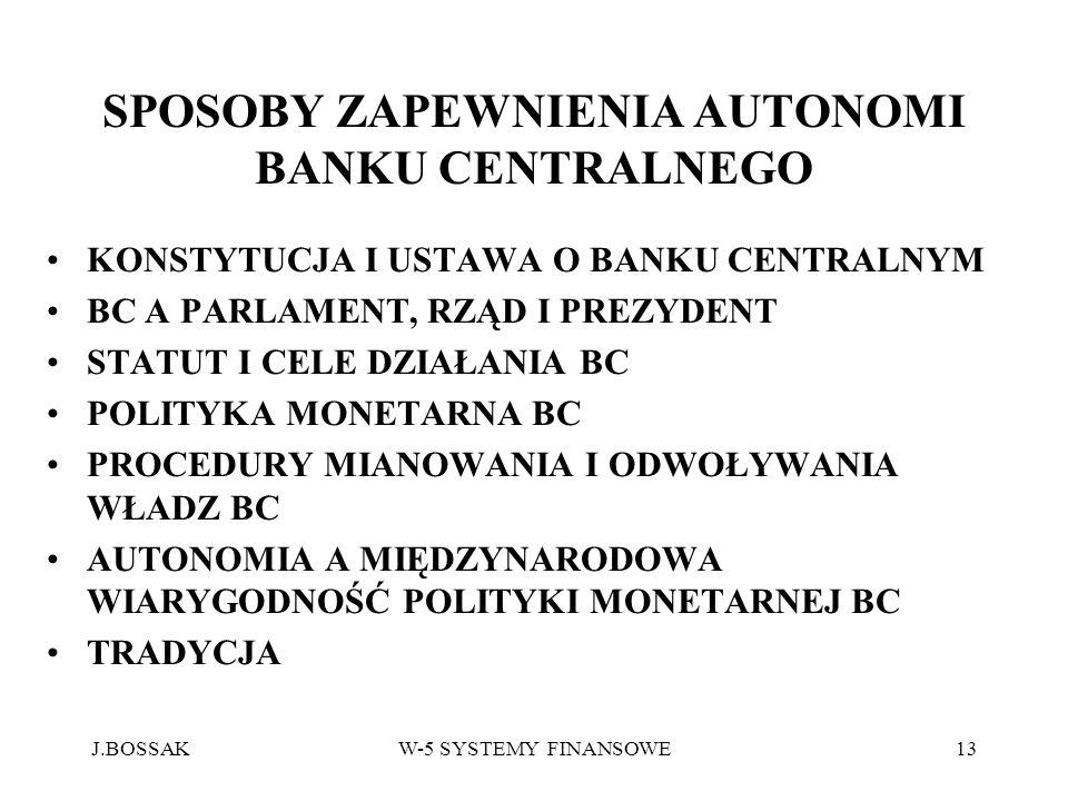 SPOSOBY ZAPEWNIENIA AUTONOMI BANKU CENTRALNEGO