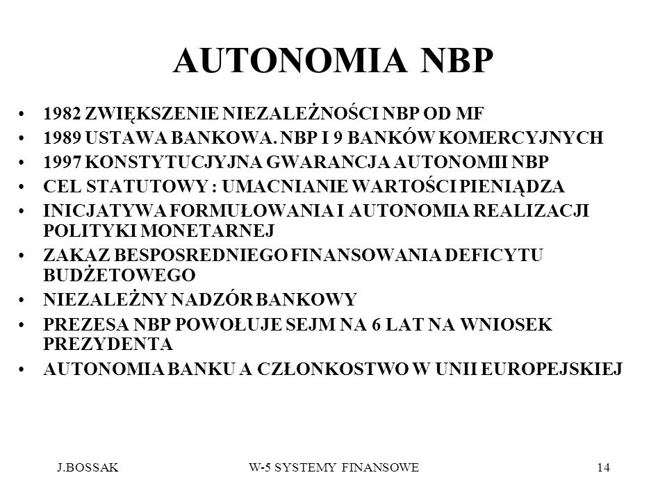 AUTONOMIA NBP 1982 ZWIĘKSZENIE NIEZALEŻNOŚCI NBP OD MF