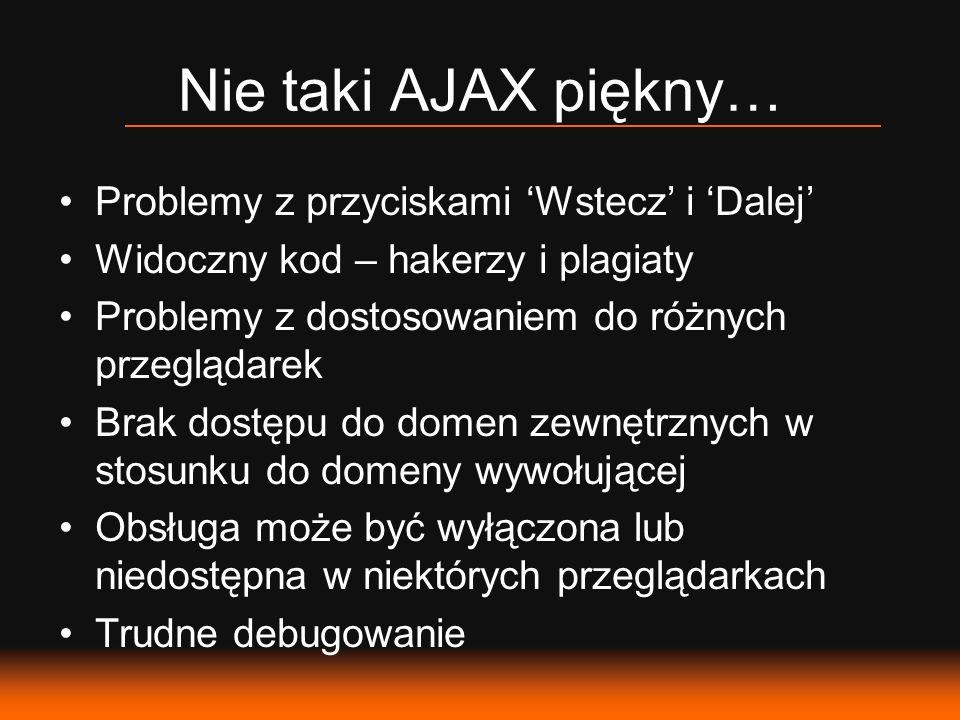 Nie taki AJAX piękny… Problemy z przyciskami 'Wstecz' i 'Dalej'
