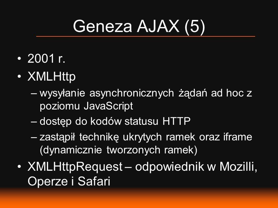 Geneza AJAX (5) 2001 r. XMLHttp