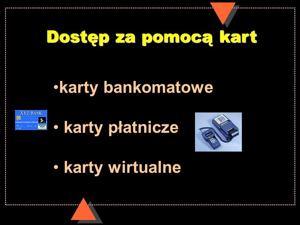 Dostęp za pomocą kartkarty bankomatowe. karty płatnicze. karty wirtualne.