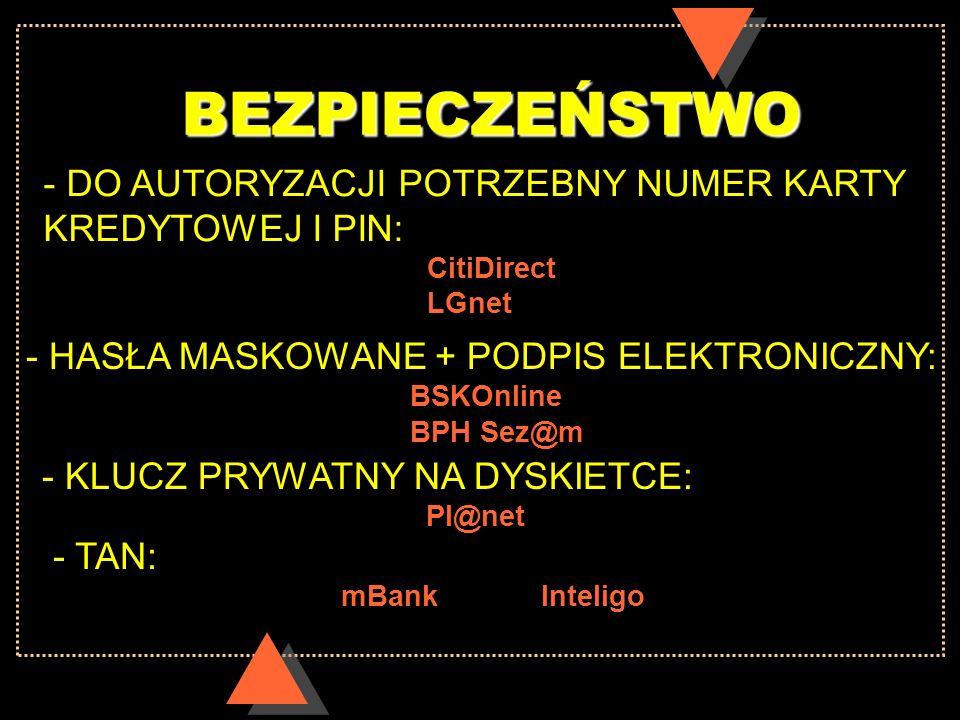 BEZPIECZEŃSTWO - DO AUTORYZACJI POTRZEBNY NUMER KARTY KREDYTOWEJ I PIN: CitiDirect. LGnet. - HASŁA MASKOWANE + PODPIS ELEKTRONICZNY: